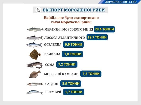 За дев'ять місяців 2019 року Україною експортовано 310 тонн мороженої риби на $860 тис.